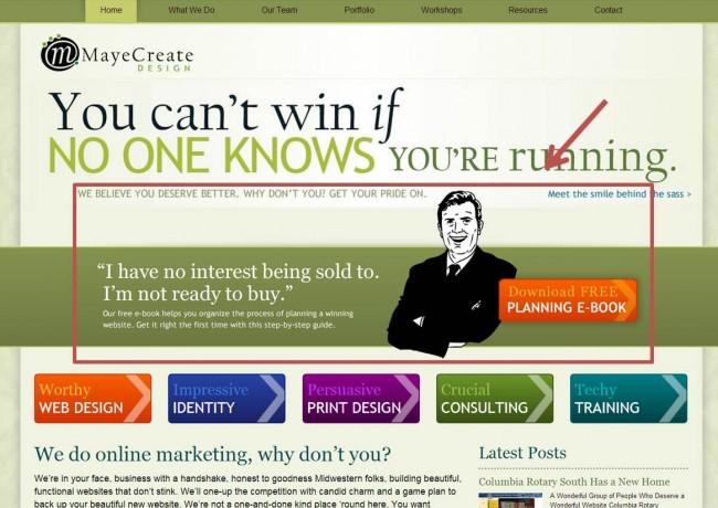 MayeCreate Homepage Slider CTA
