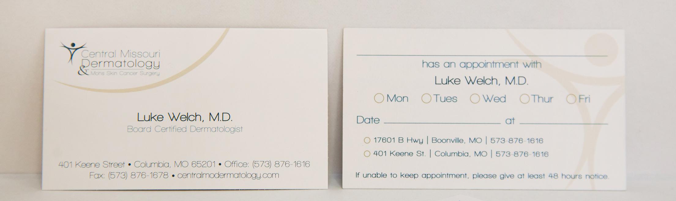 Central Missouri Dermatology Business Cards