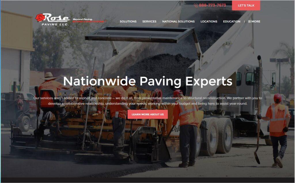 Long scroll example for asphalt paving websites.